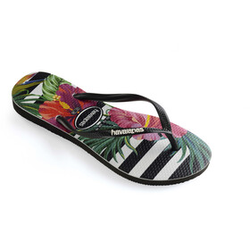 havaianas Slim Tropical Floral Flips Women Black/Black/Imperial Palace